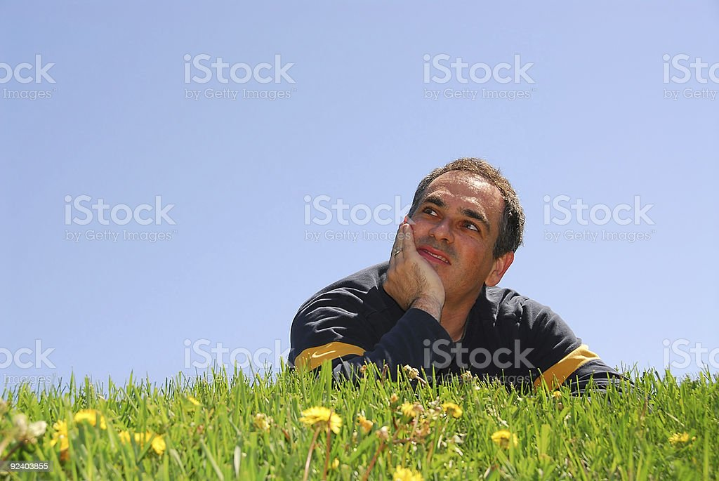 Man on grass royalty-free stock photo