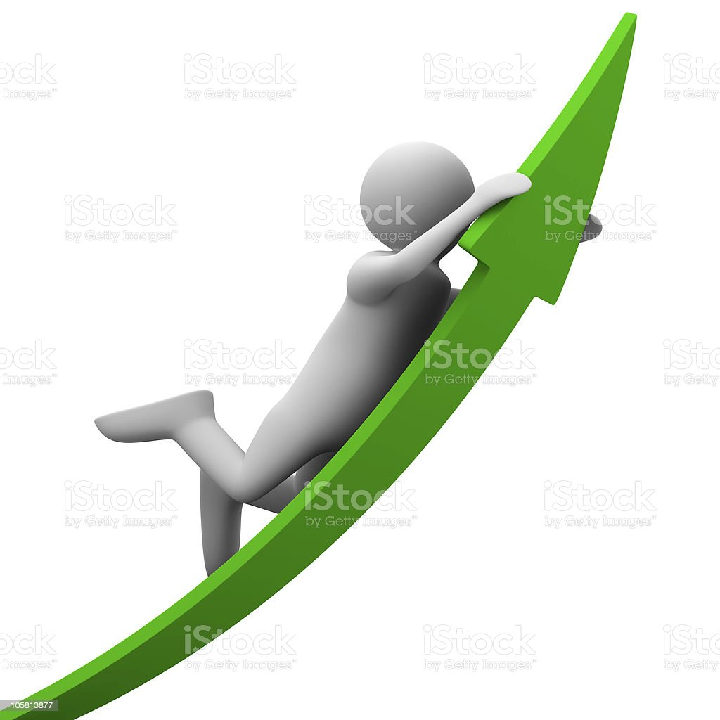 man on green arrow. Isolated 3D image royalty-free stock photo