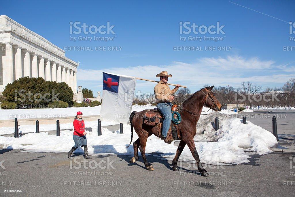 Man on horseback, Washington DC stock photo