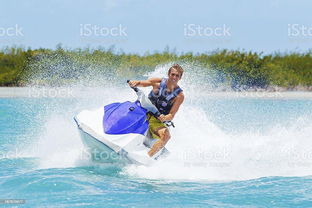 Man on Jet Ski stock photo