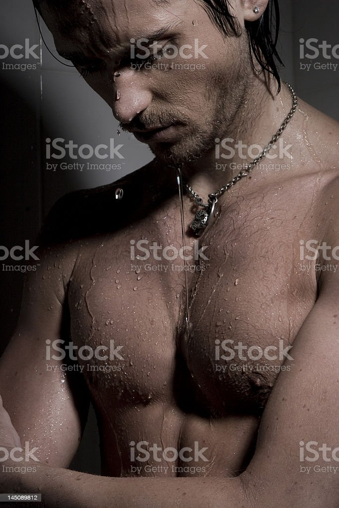 man on jets of water #2 stock photo