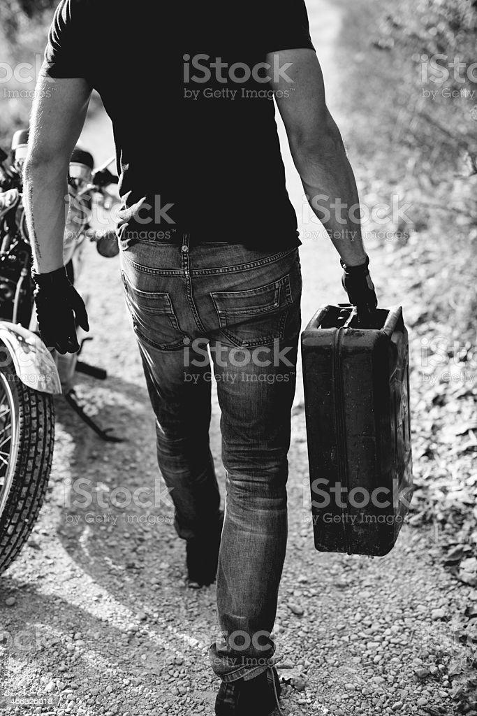Man on motorcycle stock photo
