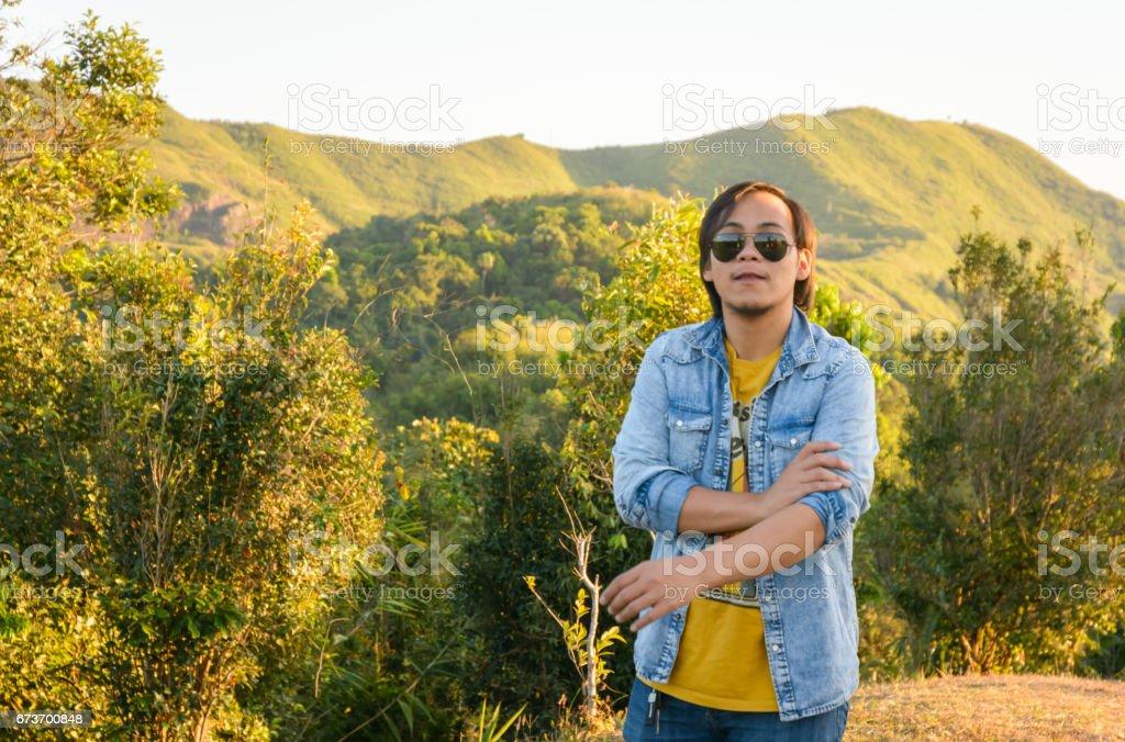 man on nature stock photo