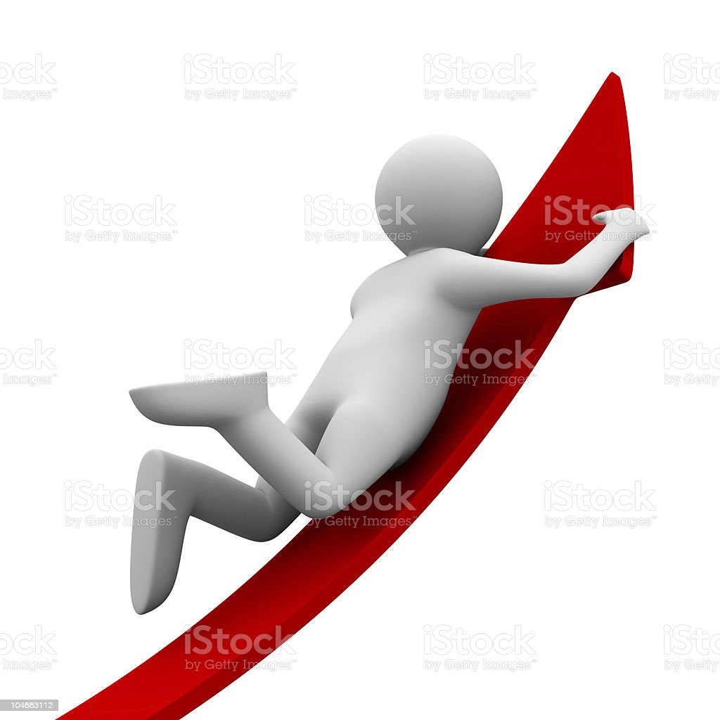 man on red arrow. Isolated 3D image royalty-free stock photo
