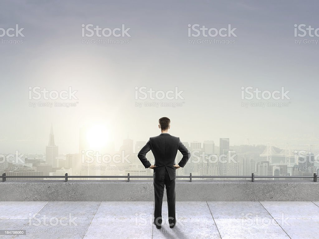 man on roof royalty-free stock photo