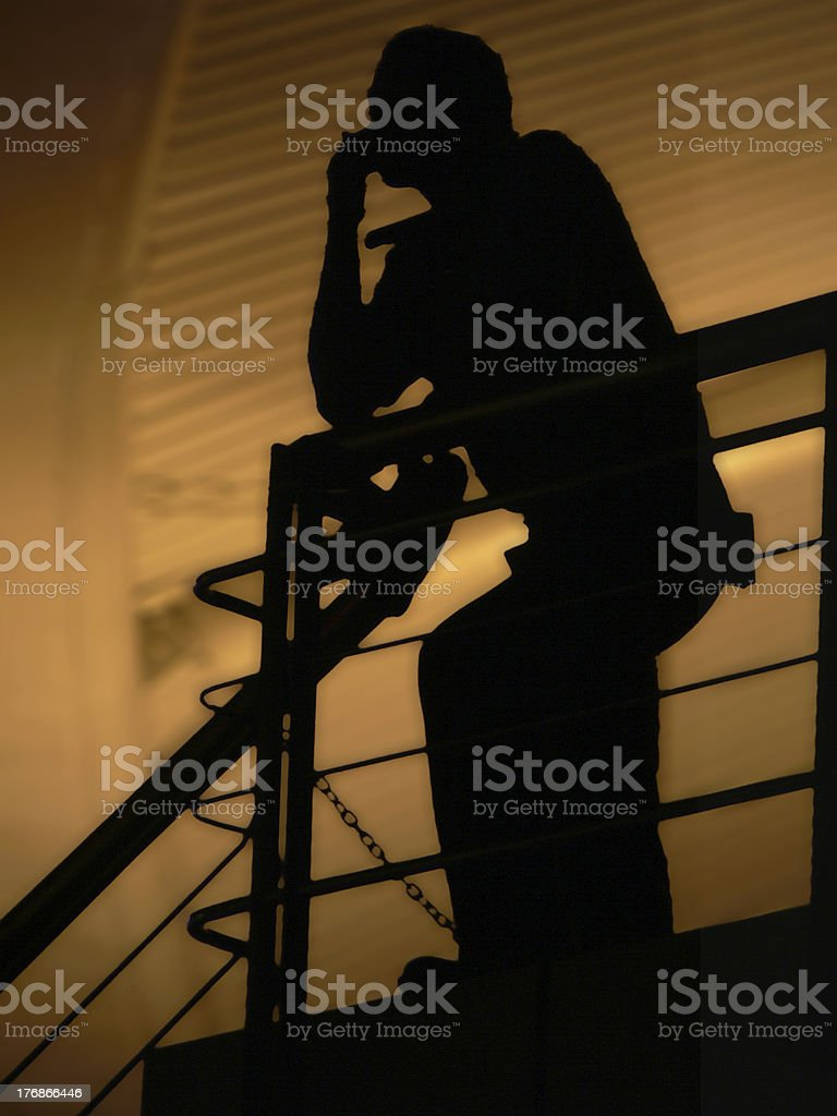 Man on Stair - Thinking About the Future royalty-free stock photo