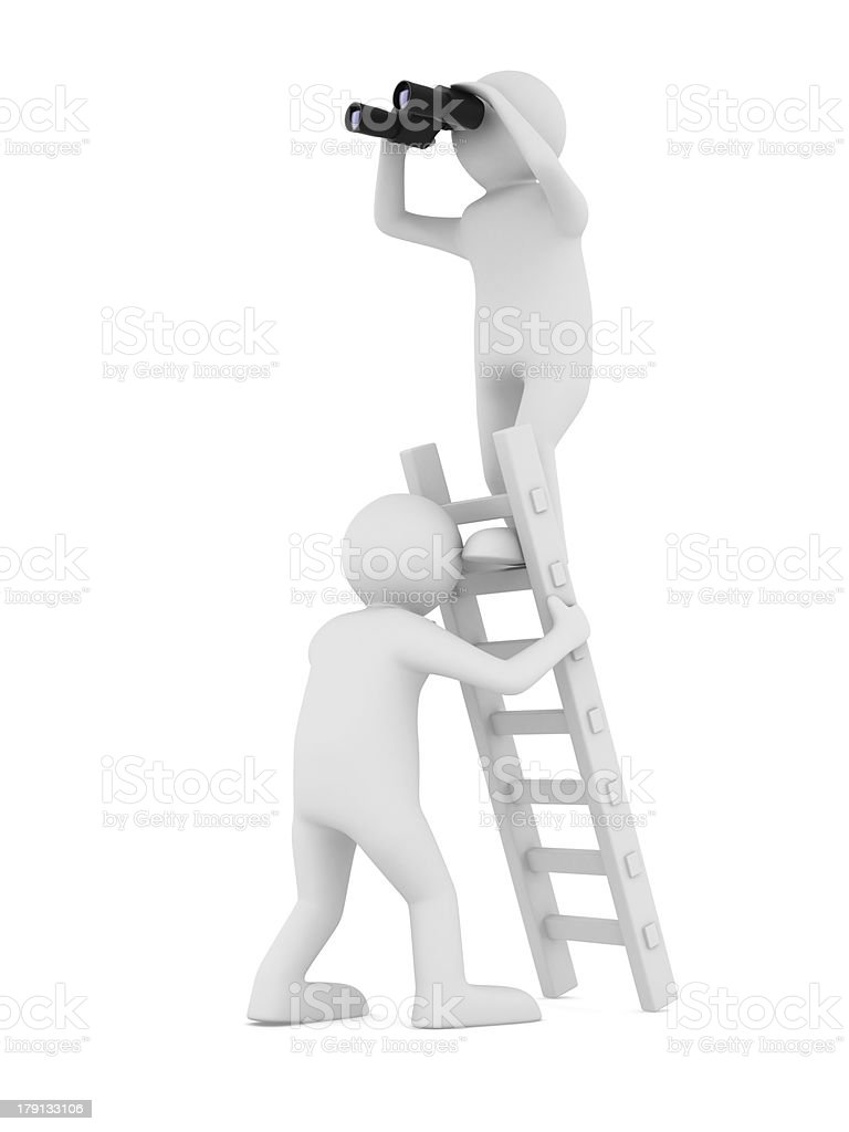 man on staircase. Isolated 3D image royalty-free stock photo