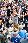 Man On Stilts Juggles Pins In Atlanta Halloween Parade