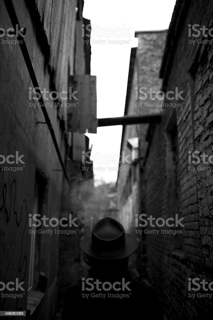 Man on street stock photo