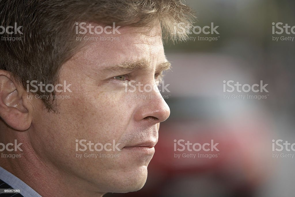 Man on street stock photo