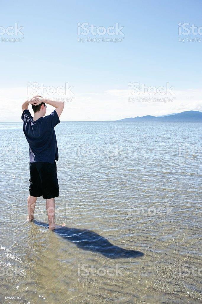 XXL man on summer beach royalty-free stock photo