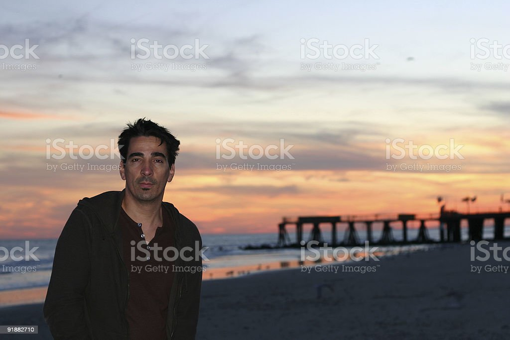 Man on Sunset Beach royalty-free stock photo