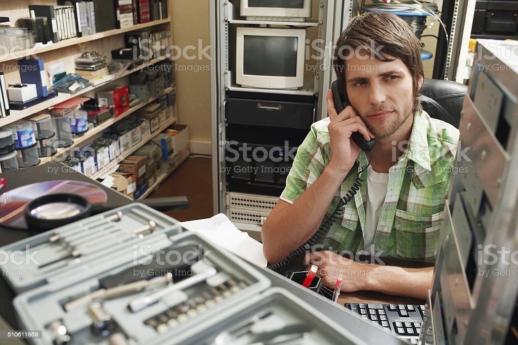Man on Telephone stock photo