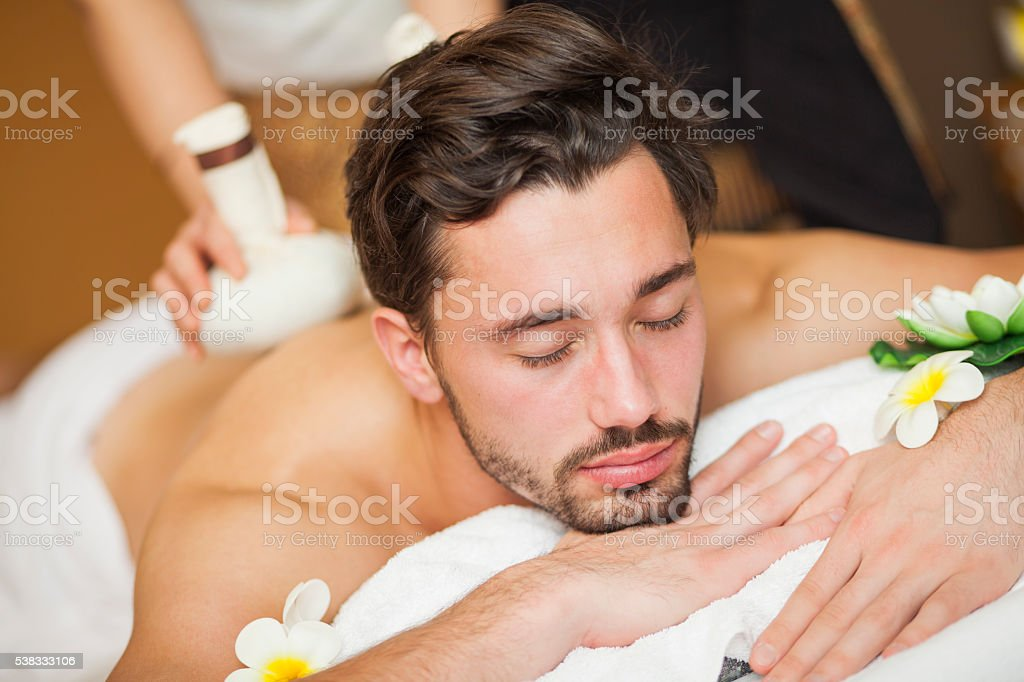 Man on Thai massage stock photo