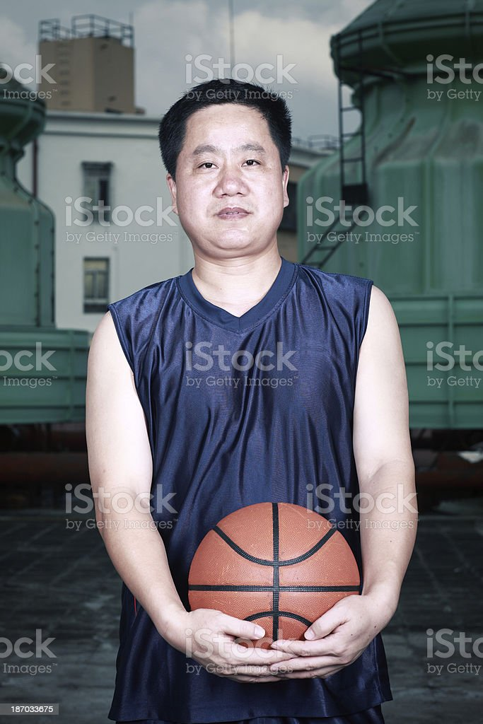 Man on the basketball court royalty-free stock photo