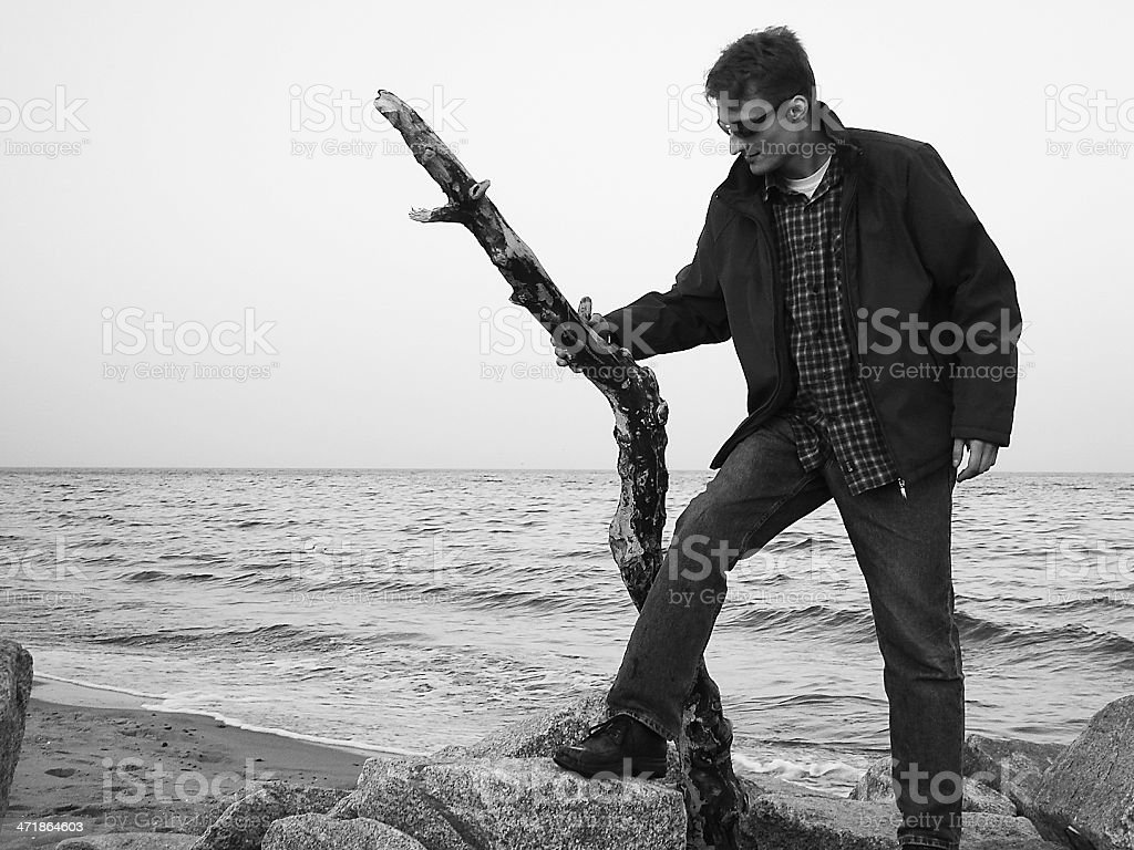 Man on the beach. royalty-free stock photo
