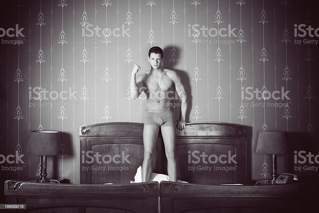 Man on the bed royalty-free stock photo