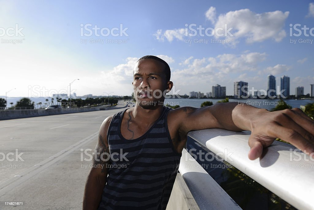 Man on the Highway stock photo