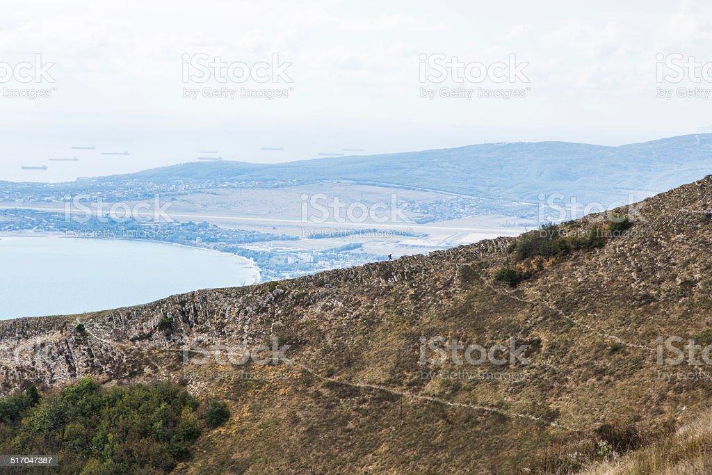 man on the mountain royalty-free stock photo