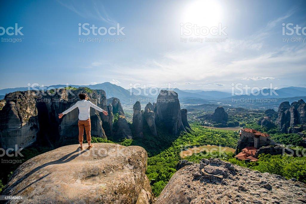 Man on the mountains stock photo