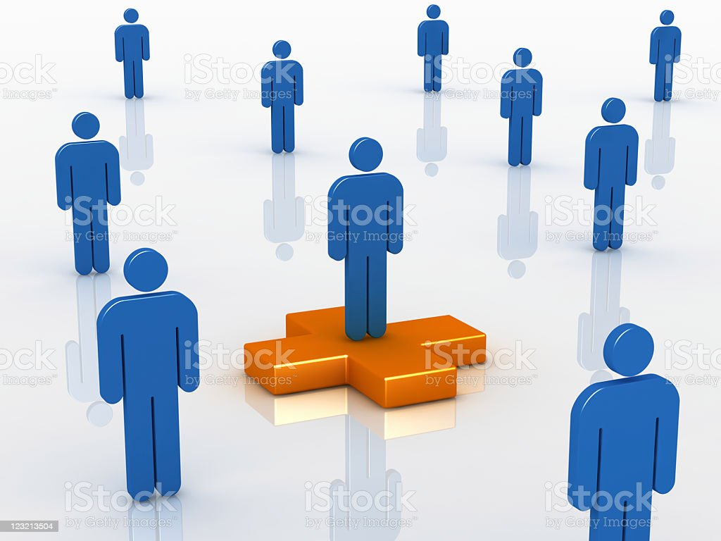 Man on the plus sign royalty-free stock photo
