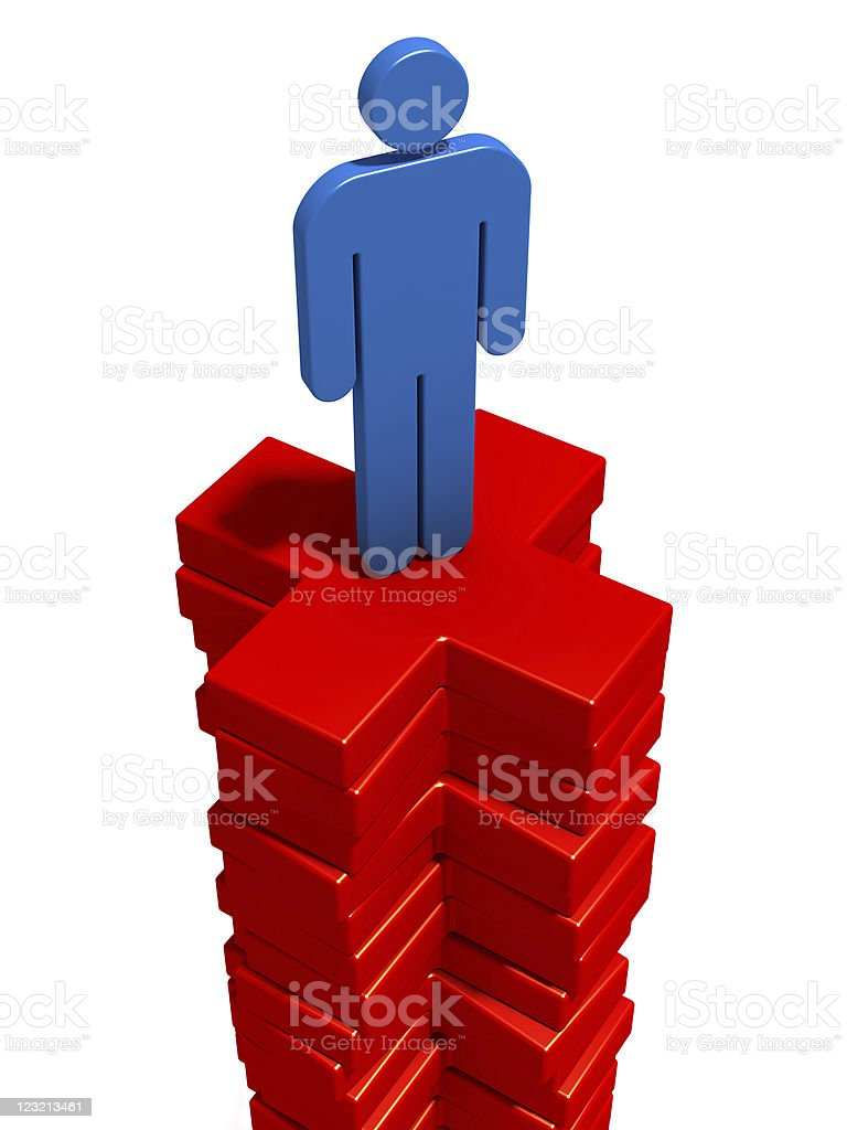 Man on the plus signs royalty-free stock photo