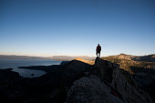 Man on the summit of a mountain, Lake Tahoe