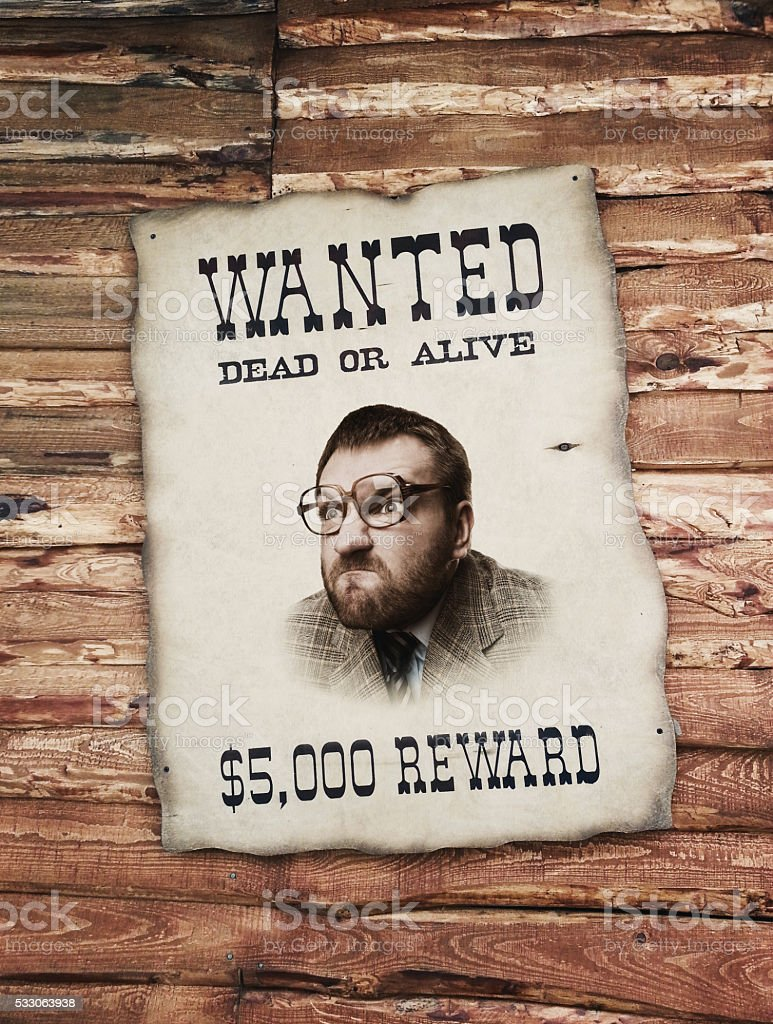 Man on the wanted list stock photo