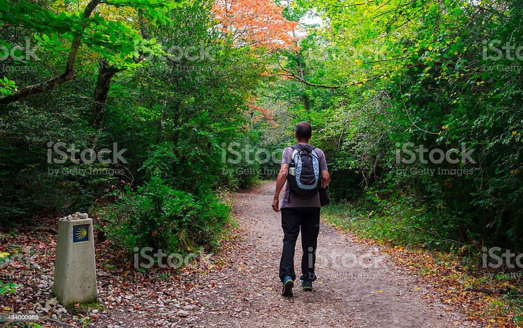 Man on the Way of St. James. stock photo