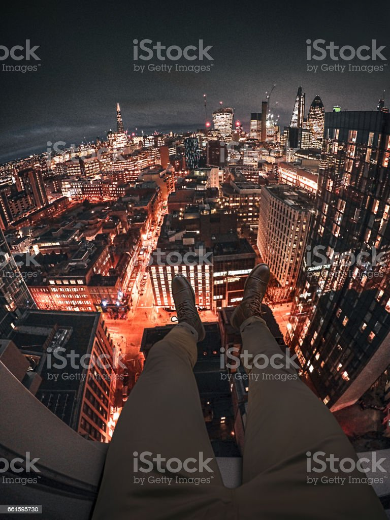 man on the window in london stock photo