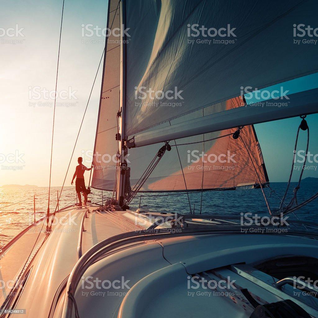 Man on the yacht stock photo