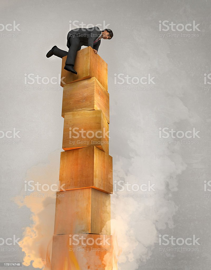 Man on top of Burning Tower royalty-free stock photo