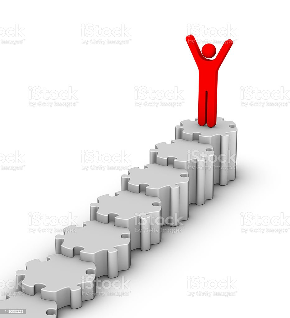 man on top of staircase royalty-free stock photo