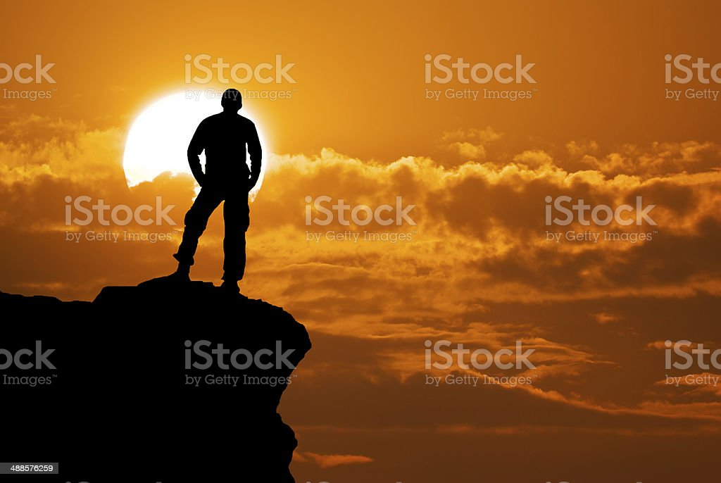Man on top stock photo