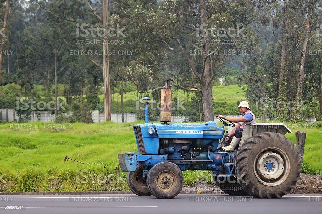 Man on Tractor - Quito, Ecuador stock photo