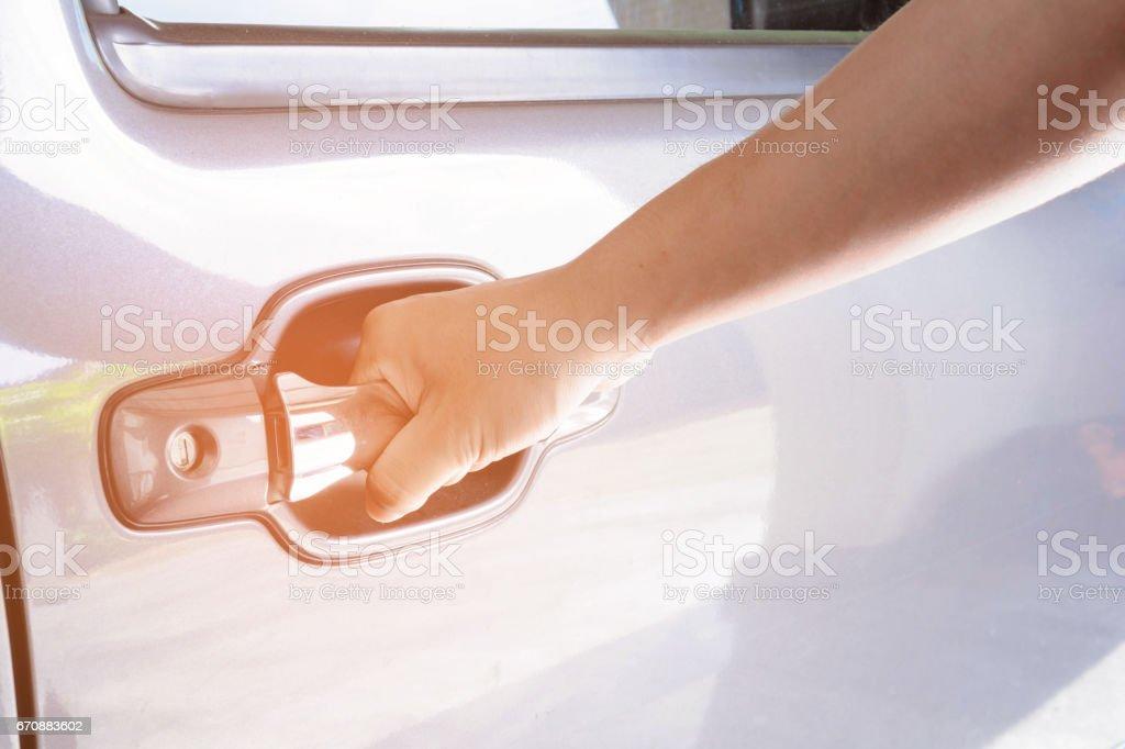 Man opened the car door stock photo