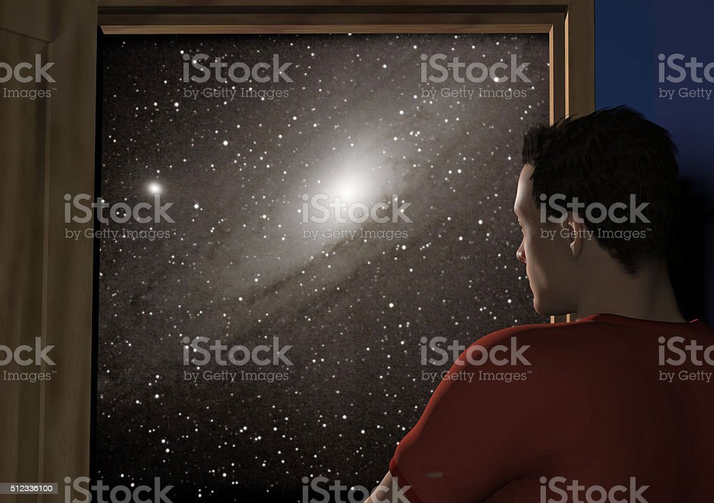 man opening a door to the cosmos stock photo