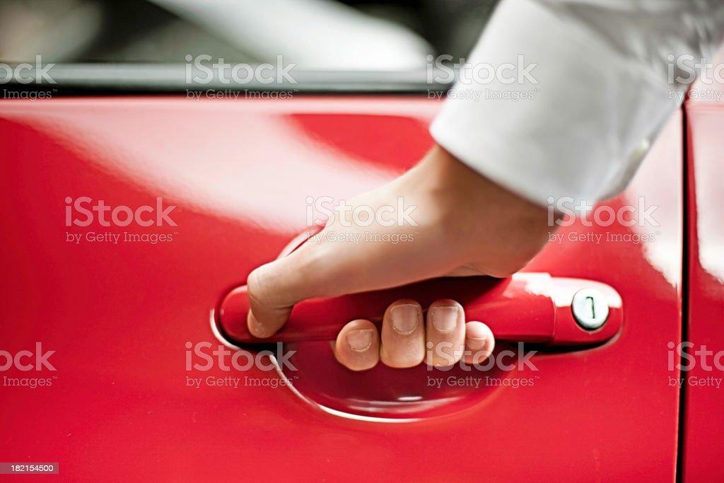 Man opening Car Door stock photo