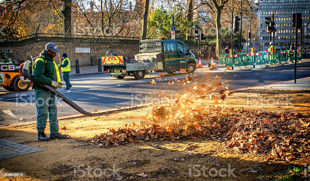 Man operating leaf blower in autumnal London park stock photo