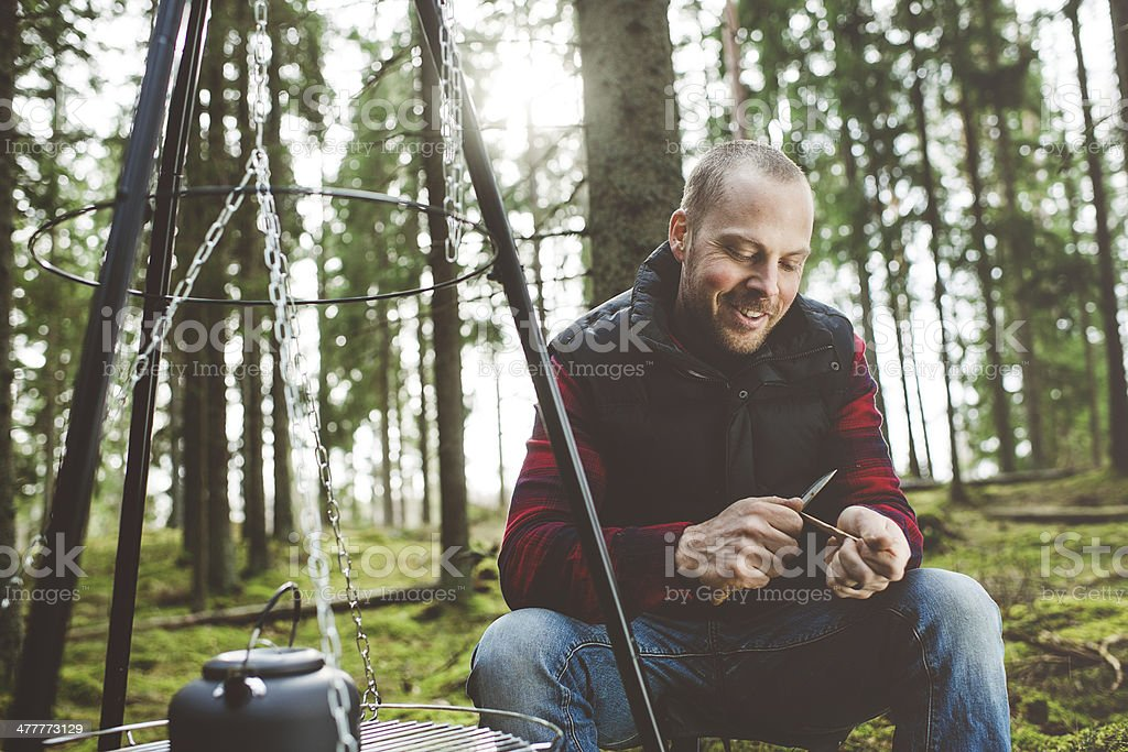 Man outdoors in the woods stock photo