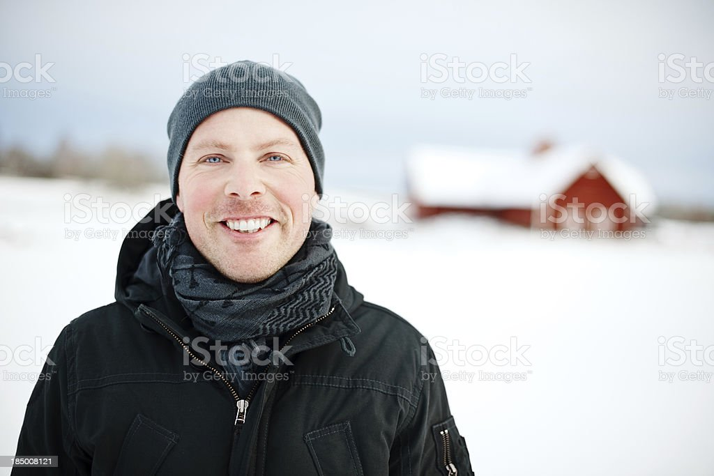Man outdoors infront of barn royalty-free stock photo