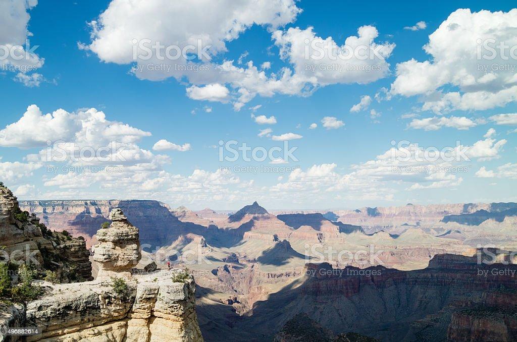 Mann mit Blick auf den beeindruckenden Ausblick auf den Grand Canyon National Park Lizenzfreies stock-foto