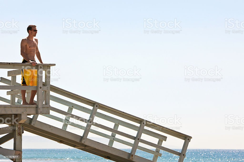 Man Overlooking Pacific Ocean royalty-free stock photo