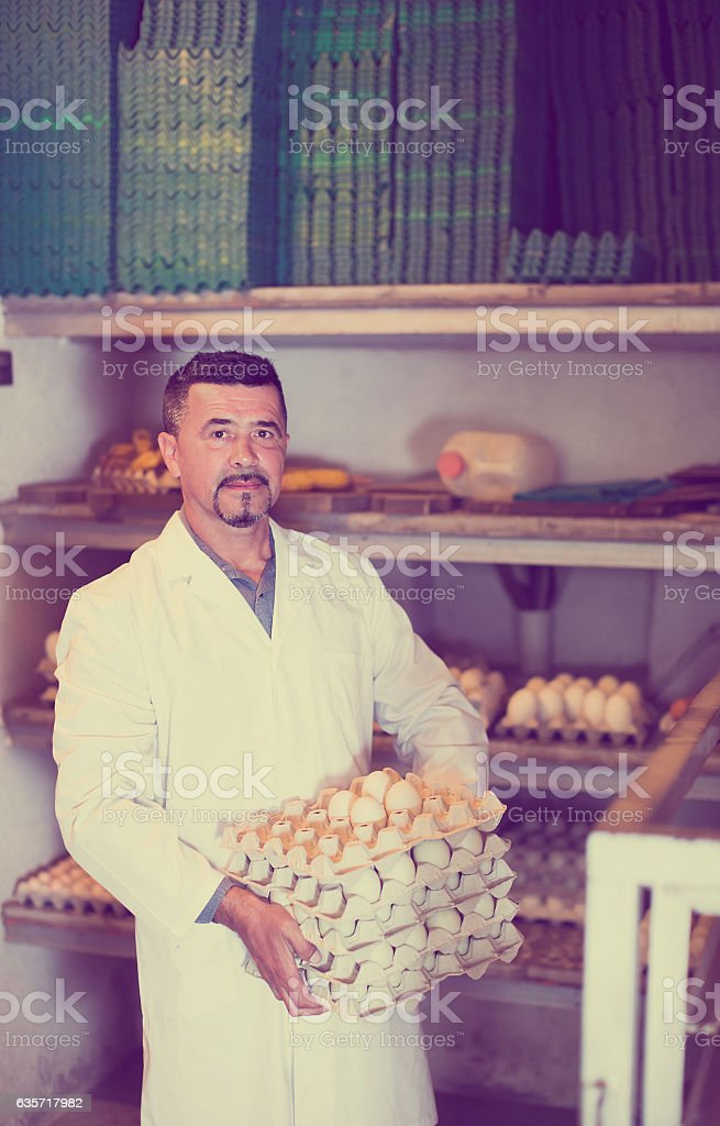 Man packing hen eggs in farmhouse stock photo