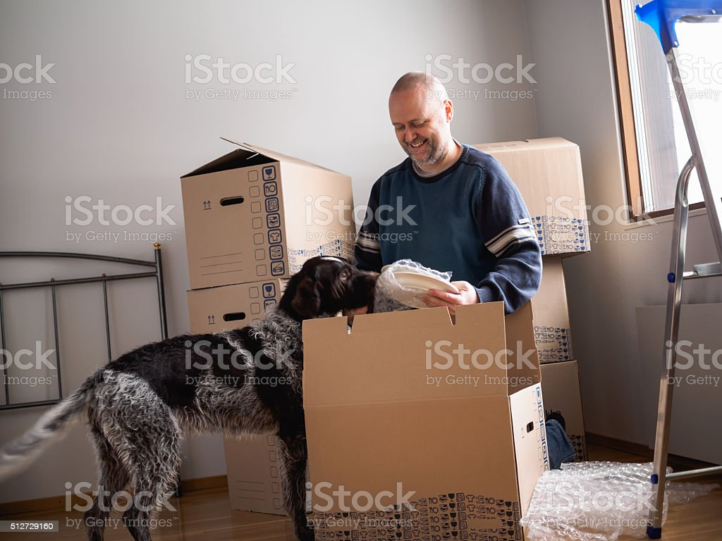 Man packing plates stock photo