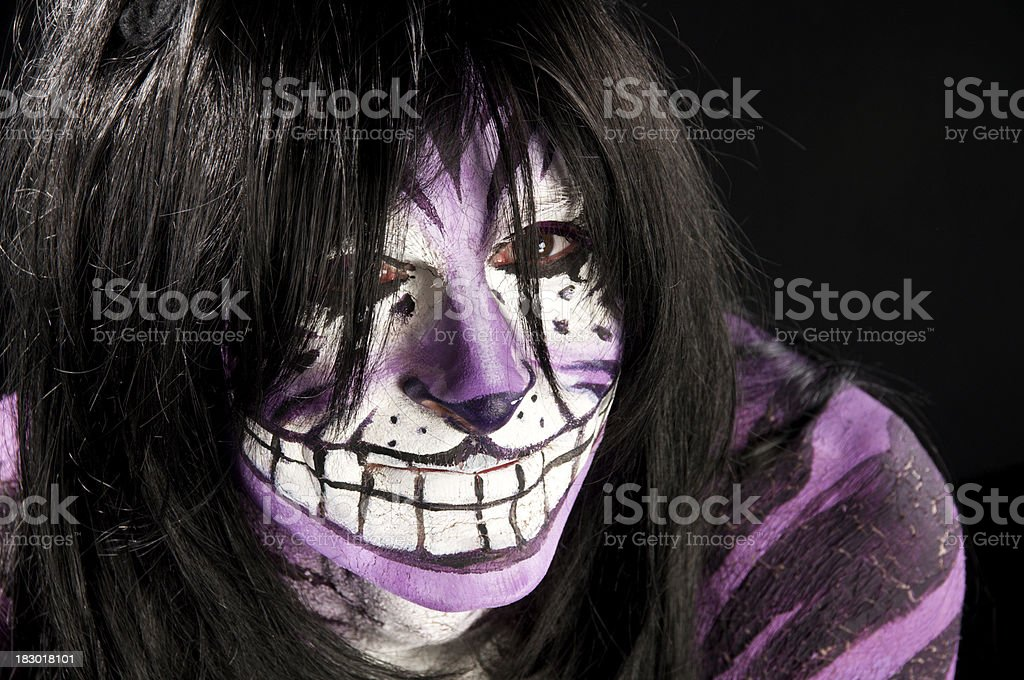Man painted as Cheshire Cat, closeup. royalty-free stock photo