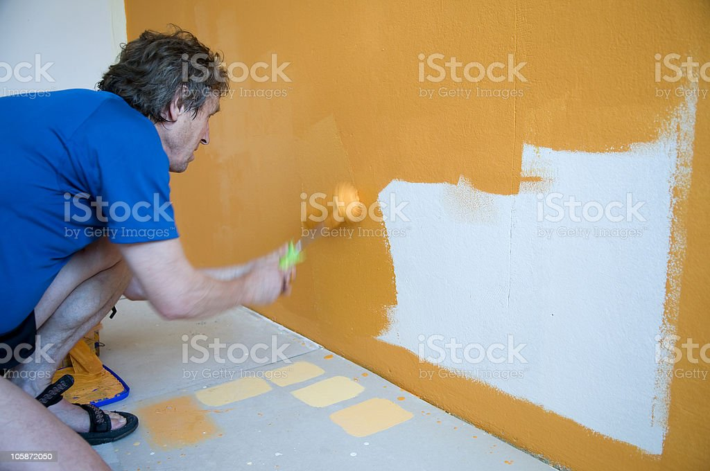 Man Painting His Room royalty-free stock photo