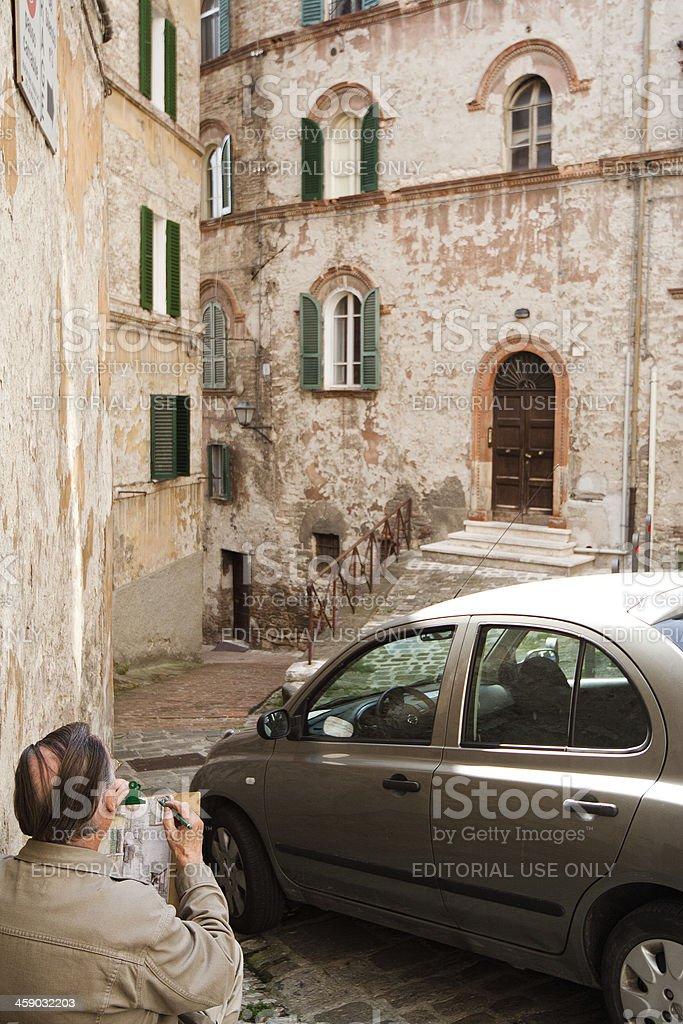 Man Painting Italian Alley royalty-free stock photo