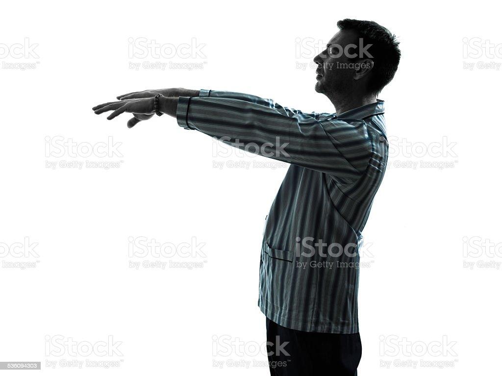 man pajamas sleepwalker sleepwalking stock photo