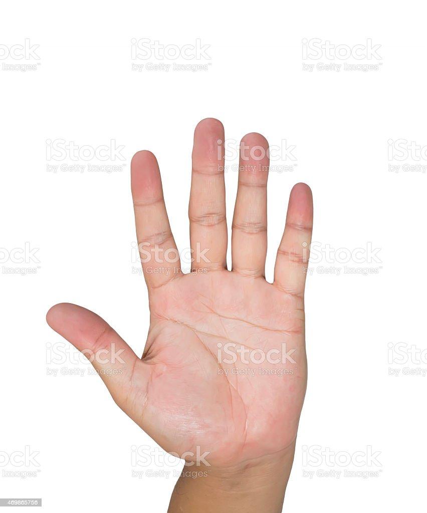 man palm hand isolated white background stock photo